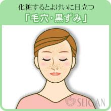 毛穴と黒ずみの悩み|東京 三軒茶屋 からだのことなら|肌・頭皮(薄毛)の悩みの改善に「ヒト幹細胞と植物幹細胞による」メディカル系フェイシャルエステケア【FCR・リアボーテハーブ・ACトリートメント・クレアスキン基礎化粧品の正規取扱いサロン】
