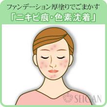 ニキビ跡(痕)・色素沈着の悩み|東京 三軒茶屋 からだのことなら|肌・頭皮(薄毛)の悩みの改善に「ヒト幹細胞と植物幹細胞による」メディカル系フェイシャルエステケア【FCR・リアボーテハーブ・ACトリートメント・クレアスキン基礎化粧品の正規取扱いサロン】
