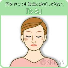 シミの悩み|東京 三軒茶屋 からだのことなら|肌・頭皮(薄毛)の悩みの改善に「ヒト幹細胞と植物幹細胞による」メディカル系フェイシャルエステケア【FCR・リアボーテハーブ・ACトリートメント・クレアスキン基礎化粧品の正規取扱いサロン】